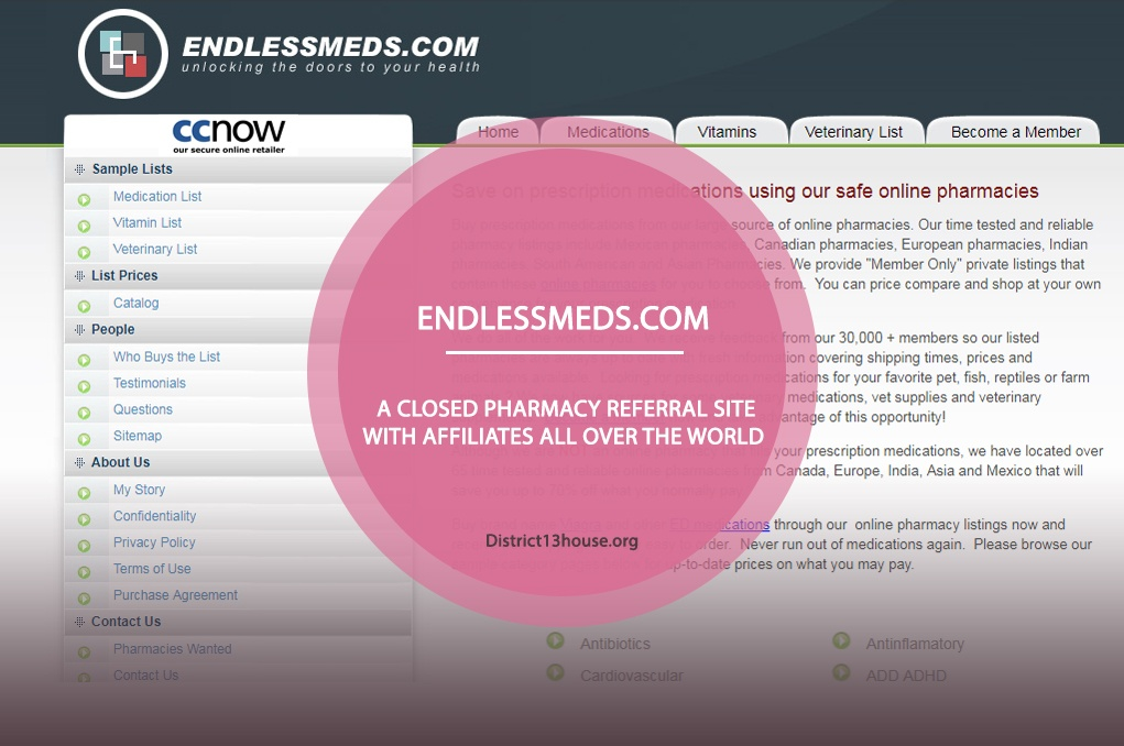 Endlessmeds.com Review – A Closed Pharmacy Referral Site with Affiliates All Over the World