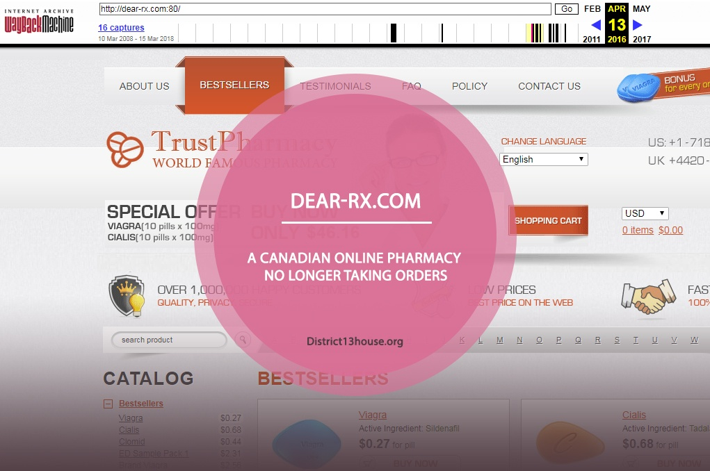 Dear-rx.com Review – A Canadian Online Pharmacy No Longer Taking Orders