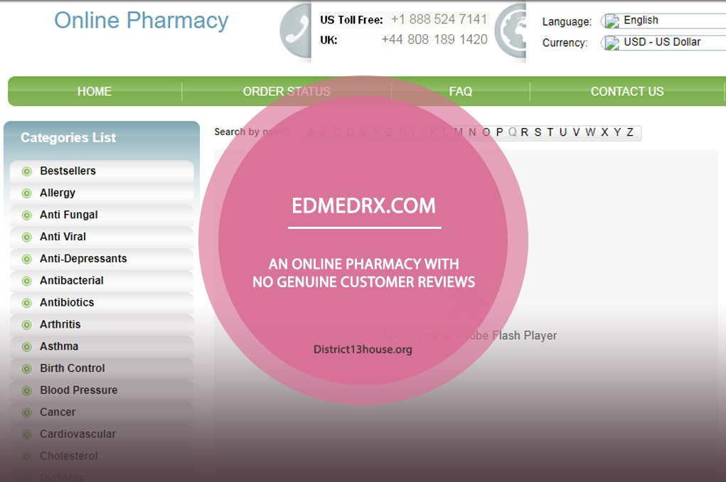 Edmedrx.com Review - An Online Pharmacy with No Genuine Customer Reviews