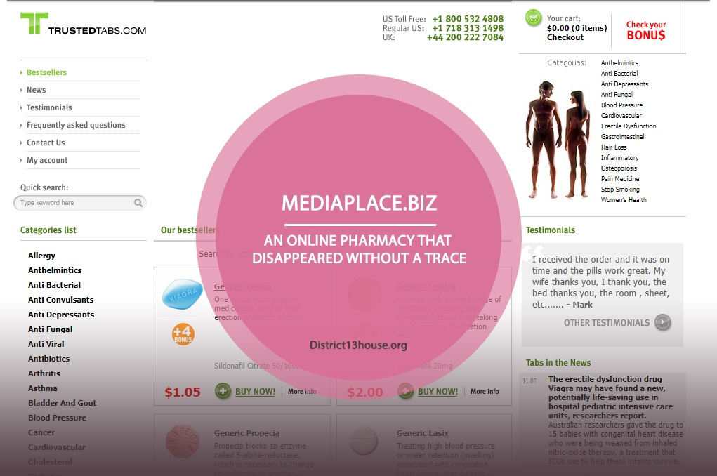 Mediaplace.biz Review - An Online Pharmacy That Disappeared Without A Trace