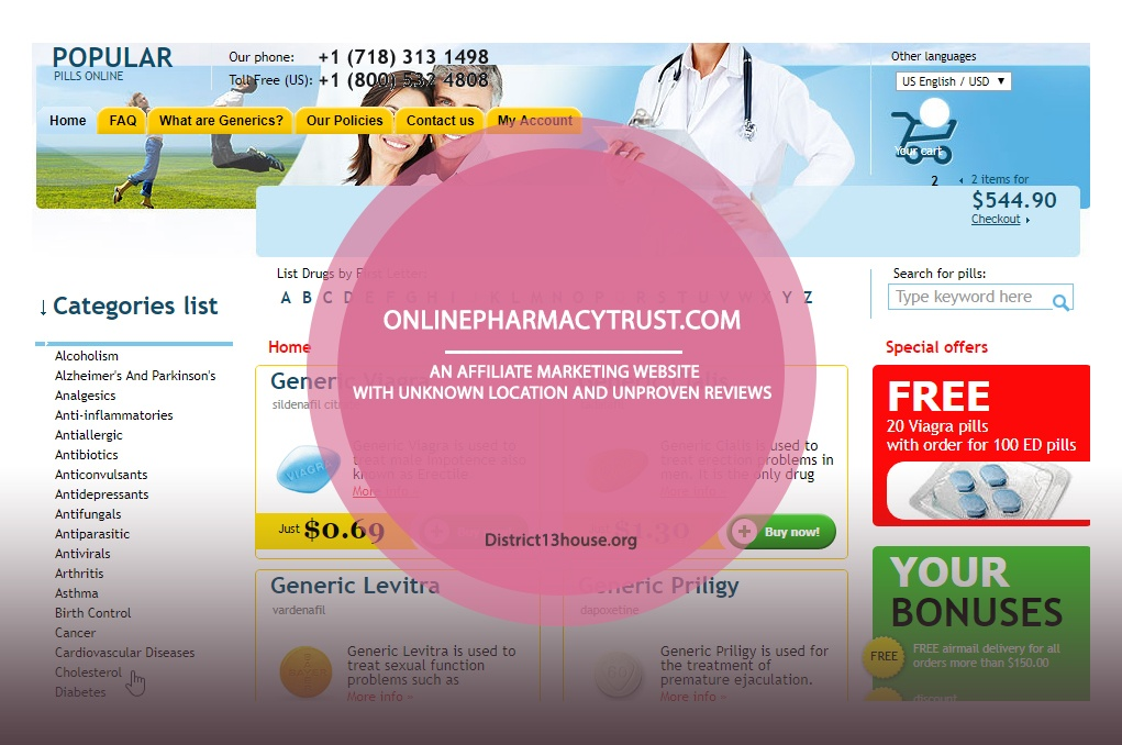 Onlinepharmacytrust.com Review – An Affiliate Marketing Website with Unknown Location and Unproven Reviews