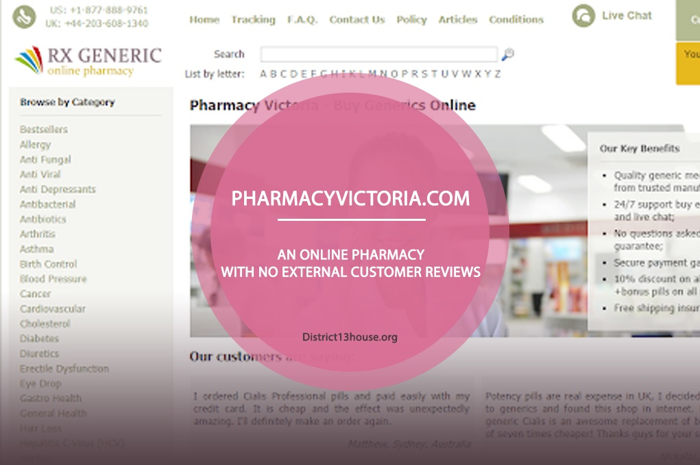 Pharmacyvictoria.com Review - An Online Pharmacy with no External Customer Reviews