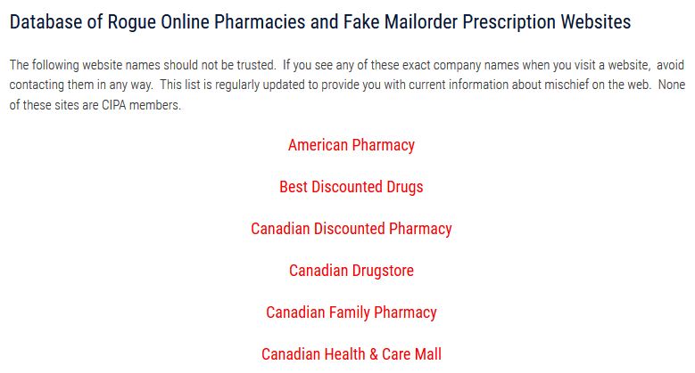 Canadian Family Pharmacy CIPA Advisory
